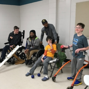 4 boccia players and coaches at practice in Chapel Hill