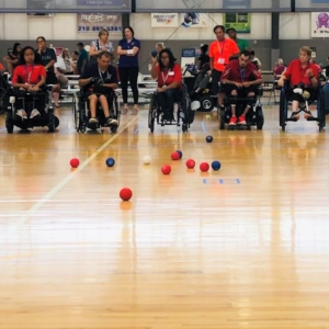 5 boccia players in a row competing at Boccia Nationals 2019