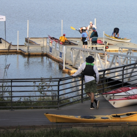 overview of low profile kayak dock at Lake Crabtree