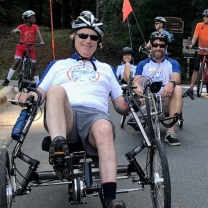 Bridge 2 Sports athlete on recumbent trike at BikeFest 2019