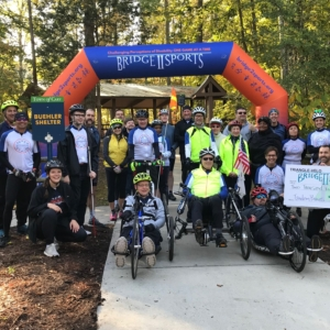 Group picture of all cyclists at last Bridge 2 Sports Cycling Saturday of 2019