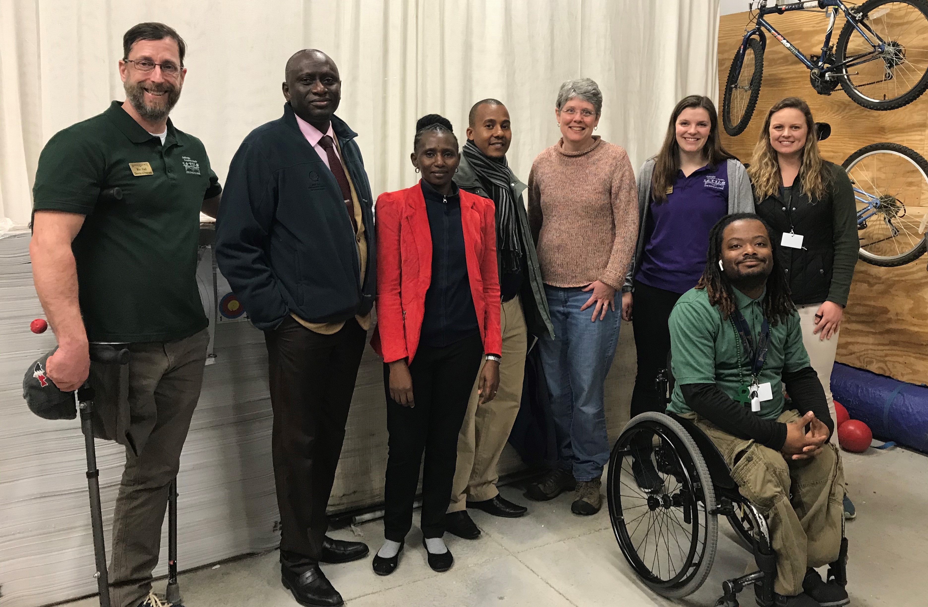 group picture of Bridge 2 Sports program staff with Dr. Ann Saterbak and 3 visiting faculty members from universities in Africa