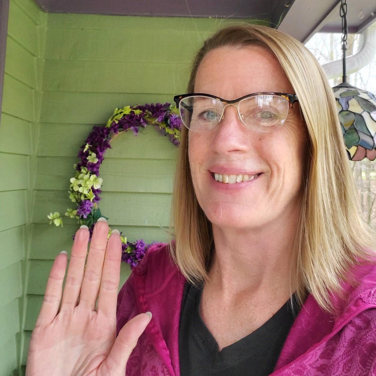 Kathy waving