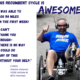 "Picutre of man with left leg amuptuation on recumbent trike. Quote ""This Recumbent is Awesome! I was able to log 114 miles in my first week. I can't thank you enough. There is no way I could do any of this without your help."" Chris- Marine Veteran, Valor Games SE athlete and Bridge 2 Sports Athlete"