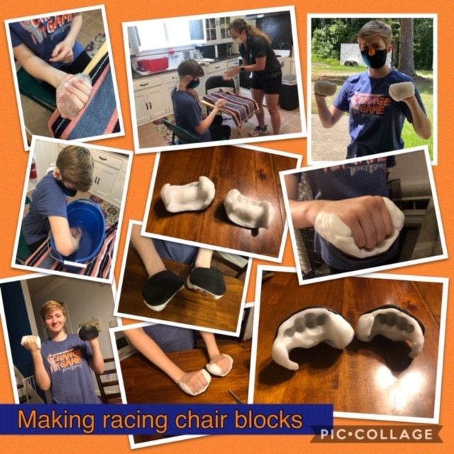 10 pictures in various stages of Bridge 2 Sports youth athlete making molds of her hands to fabricate wheelchair racing gloves