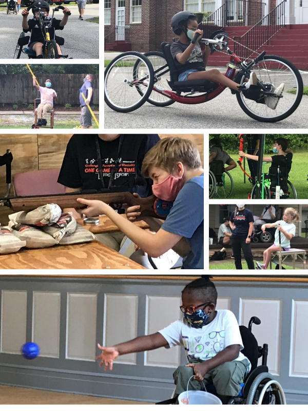 Collage picture of youth athletes with disabilities playing sports including handcycling, air rifle, archery, boccia and javelin from a seated position.