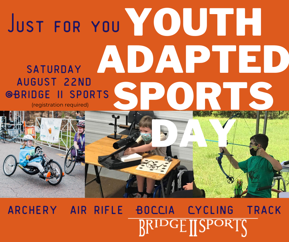 Youth Adapted Sports Day Promo graphic featuring pictures of youth cycling, shooting air rifle and archery