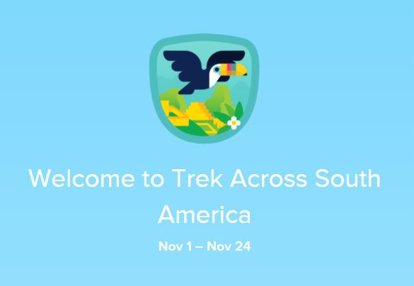 graphic of cartoon toucan. text reads: Welcome to Trek Across South America November 1 to 24