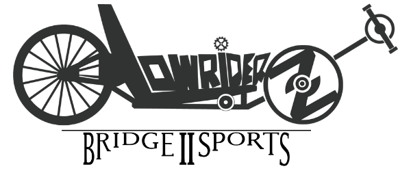 Lowriderz logo text spelling Lowriderz shaped like a recumbent cycle