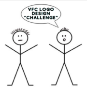 drawing of two stick figures with quote bubble reading 'VFC Logo Design Challenge'