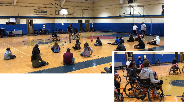 2 images. Photo 1: 14 middle school students sit on a gym floor 6 feet from each other with backs turned to the camera. They are looking at Coach Akeem in wheelchair and Coach Wes single legged amputee while they present. Photo 2: Middle school studetns sit in sport wheelchairs focused on Coach Wes.