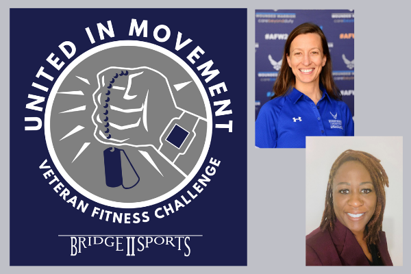 Headshot photo of Heather and Emma smiling. The Veteran Fitness Challenge logo is displayed- inside a circle a fist holding dog tags. a fitbit style watch is on the wrist. around the outside of the circle is the wording 'United in Movement Veteran Fitness Challenge' The bridge to sports logo is underneath.