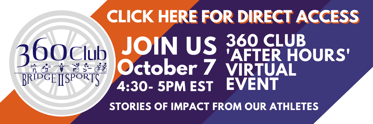 Click here to Join 360 Club After Hours Event via Zoom October 7 4:30 to 5 pm. Hear stories of impact from our athletes.